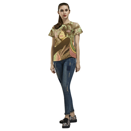 Blooming In Motion All Over Print T-Shirt for Women (USA Size) (Model T40)