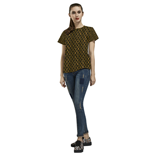 Golden Brown Scissor Stripes All Over Print T-Shirt for Women (USA Size) (Model T40)