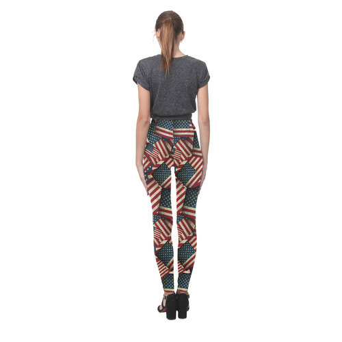 Patriotic Grunge-Style USA American Flags Cassandra Women's Leggings