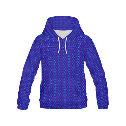 Scissor Stripes - Blue and Purple All Over Print Hoodie for Women (USA Size) (Model H13)