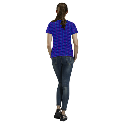 Scissor Stripes - Blue and Purple All Over Print T-Shirt for Women (USA Size) (Model T40)