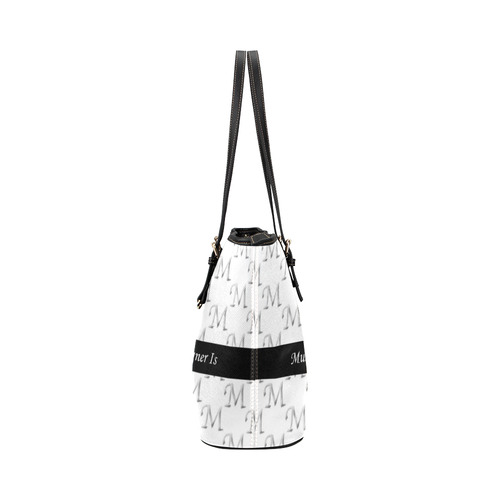 Mud-di Signature Black Titled Striped Leather Tote Bag/Small (Model 1651)