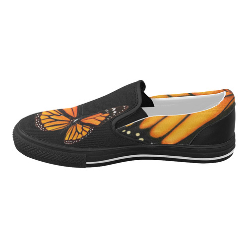 Black Monarch Slides Women's Slip-on Canvas Shoes (Model 019)