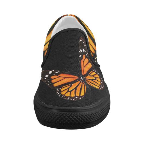 Black Monarch Slides Women's Slip-on Canvas Shoes (Model 019)