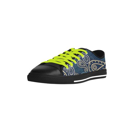 paisley illustration Aquila Microfiber Leather Men's Shoes (Model 028)
