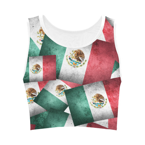 b9d398f598 Grunge-Style Mexican Flag of Mexico Women s Crop Top (Model T42 ...