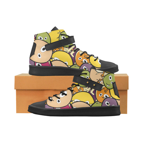 monster colorful doodle Lory High Top Men's Shoes (Model 310)