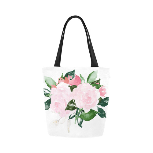54fefe91b4ef Beautiful Pink Watercolor Floral Canvas Tote Bag (Model 1657)