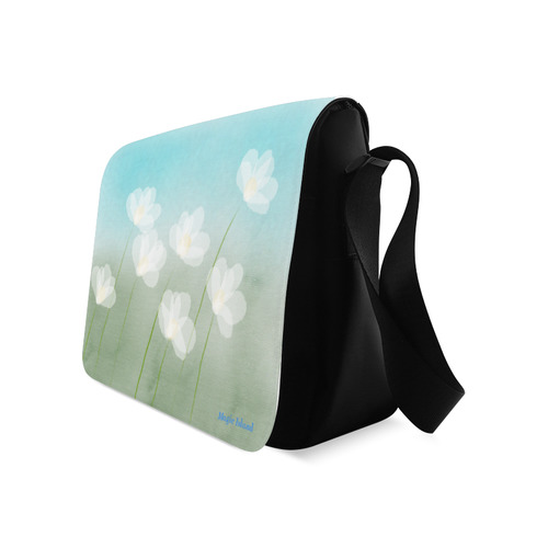 White Flowers. Inspired by the Magic Island of Gotland. Messenger Bag (Model 1628)