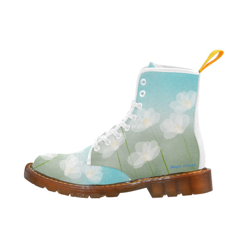 White Flowers. Inspired by the Magic Island. Martin Boots For Women Model 1203H