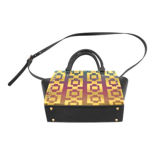 Geo Gold Radience Rivet Shoulder Handbag (Model 1645)