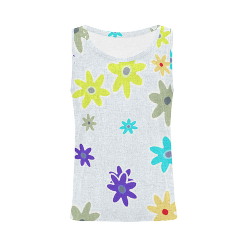 Floral Fabric 1B All Over Print Tank Top for Women (Model T43)