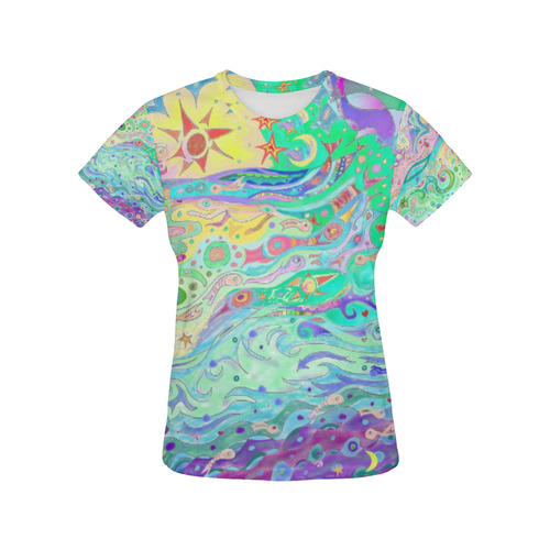 Beltaine Seashore Dreaming Art Top All Over Print T-Shirt for Women (USA Size) (Model T40)