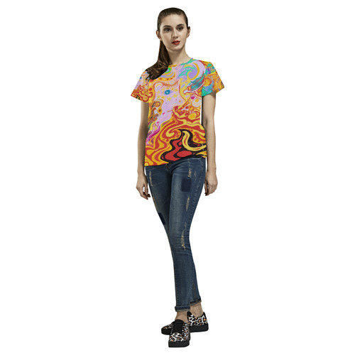 Hair of the Divine Universe Top All Over Print T-Shirt for Women (USA Size) (Model T40)