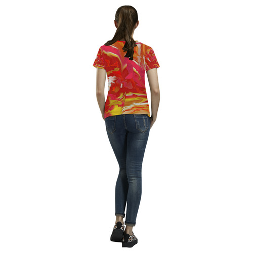 Catalyst Abstract Art Design Top All Over Print T-Shirt for Women (USA Size) (Model T40)