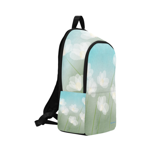 White Flowers. Inspired by the Magic Island of Gotland. Fabric Backpack for Adult (Model 1659)