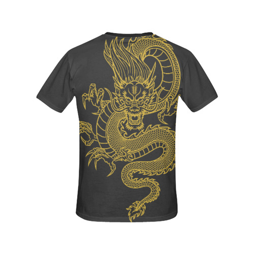 Chinese Dragon black All Over Print T-Shirt for Women (USA Size) (Model T40)