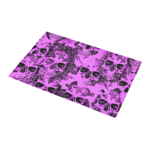 cloudy Skulls pink by JamColors Bath Rug 16''x 28''