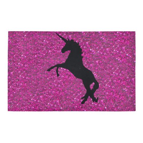 unicorn on pink glitter Bath Rug 20''x 32''