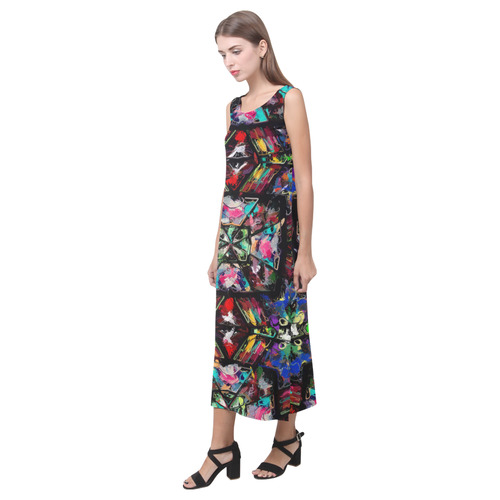 Ecuadorian Stained Glass 0760 Phaedra Sleeveless Open Fork Long Dress (Model D08)