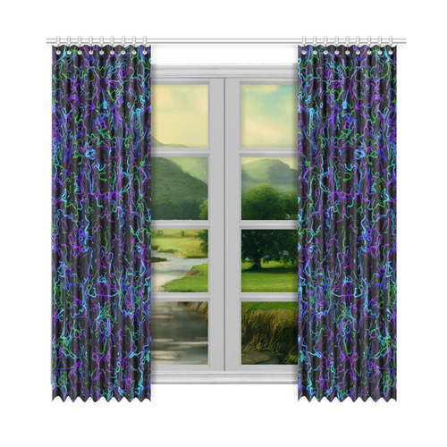 """Neon Purple, Blue, Green and Black 4745 Window Curtain 52""""x108""""(Two Piece)"""