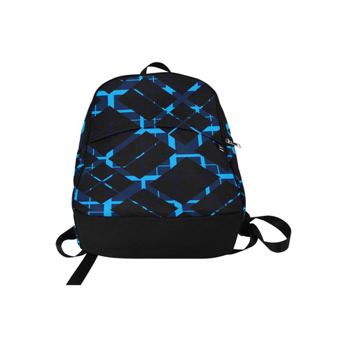 Diagonal Blue & Black Plaid Hipster Style Fabric Backpack for Adult (Model 1659)