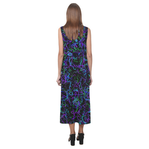 Neon Purple, Blue, Green and Black 4745 Phaedra Sleeveless Open Fork Long Dress (Model D08)