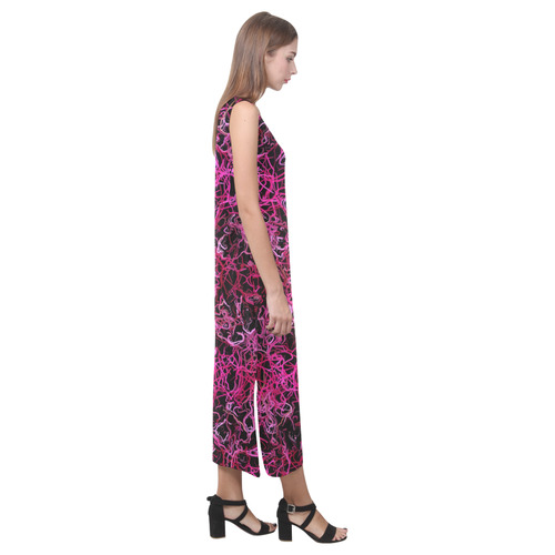 Hot Pink and Black Electric Lines 5078 Phaedra Sleeveless Open Fork Long Dress (Model D08)