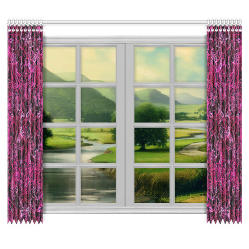 "Hot Pink and Black Electric Lines 5078 Window Curtain 50""x84""(Two Piece)"