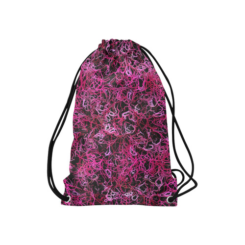 "Hot Pink and Black Electric Lines 5078 Small Drawstring Bag Model 1604 (Twin Sides) 11""(W) * 17.7""(H)"