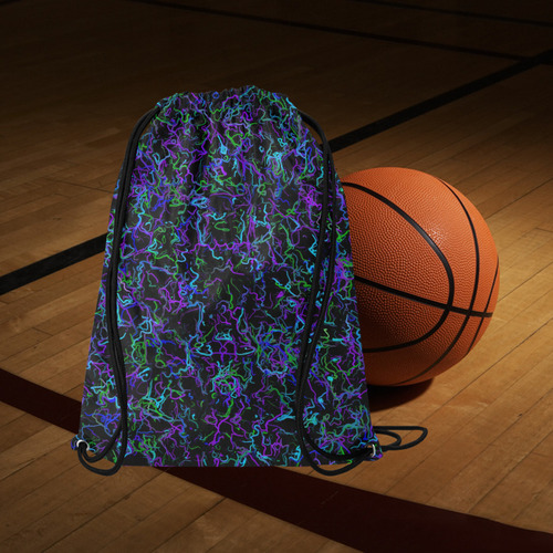 "Neon Purple, Blue, Green and Black 4745 Medium Drawstring Bag Model 1604 (Twin Sides) 13.8""(W) * 18.1""(H)"