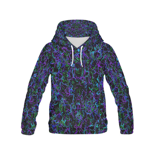 Neon Purple, Blue, Green and Black 4745 All Over Print Hoodie for Women (USA Size) (Model H13)