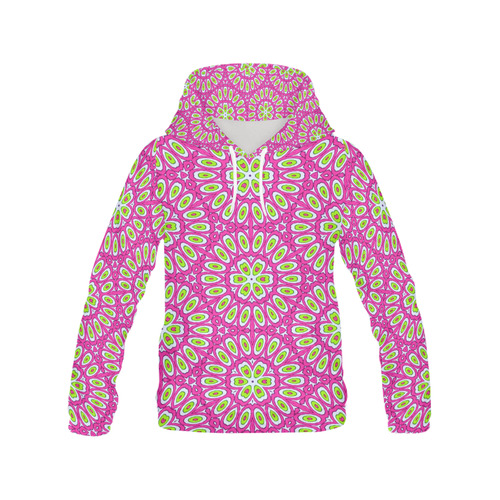 Hot Pink, Lime Green and White Pop Art All Over Print Hoodie for Women (USA Size) (Model H13)