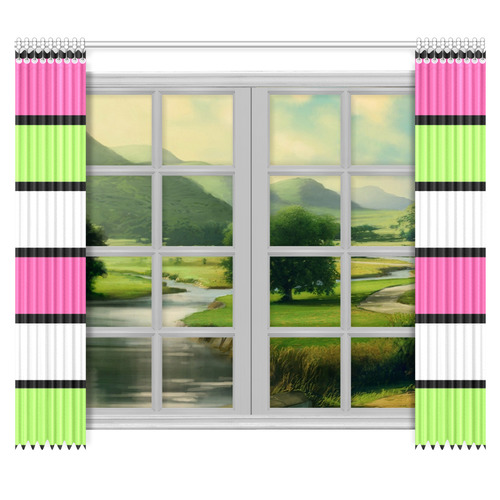 """Hot Pink, Lime Green,  Black and White Stripes Window Curtain 50""""x84""""(Two Piece)"""