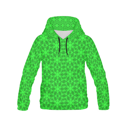 Greenery Kaleidoscope 8075 All Over Print Hoodie for Women (USA Size) (Model H13)