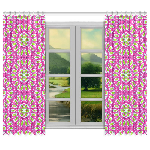 "Hot Pink, Lime Green and White Pop Art Window Curtain 50""x84""(Two Piece)"