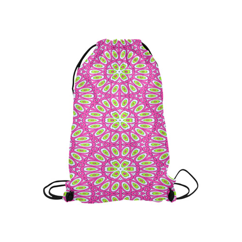 "Hot Pink, Lime Green and White Pop Art Small Drawstring Bag Model 1604 (Twin Sides) 11""(W) * 17.7""(H)"
