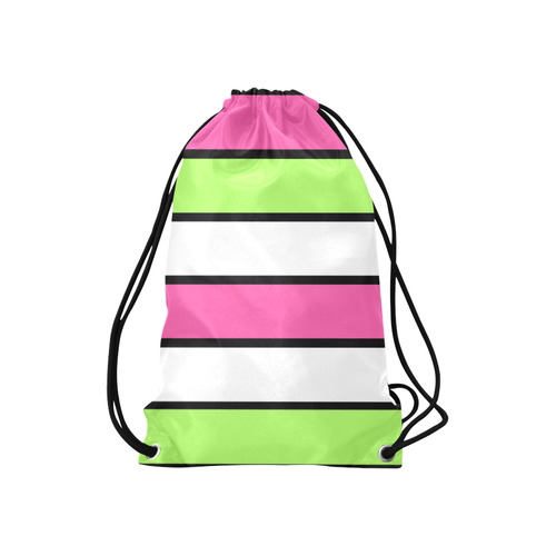 "Hot Pink, Lime Green,  Black and White Stripes Small Drawstring Bag Model 1604 (Twin Sides) 11""(W) * 17.7""(H)"