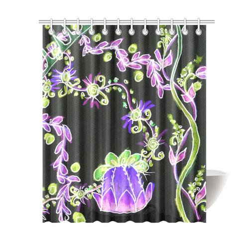 Psychedelic Irish Garden Queens Crown Night Shower Curtain 69x84