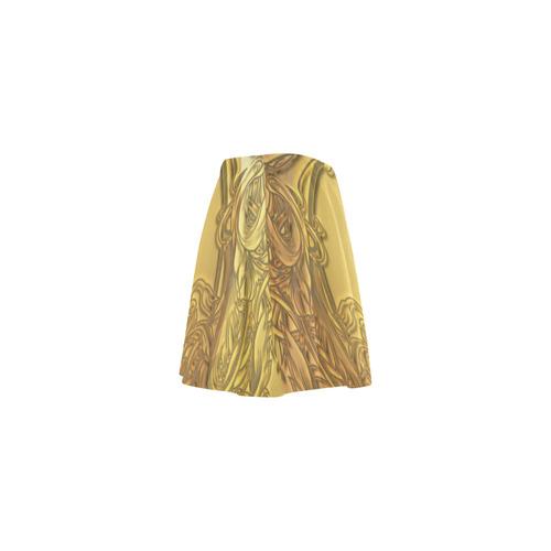 Awesome golden skull Mini Skating Skirt (Model D36)