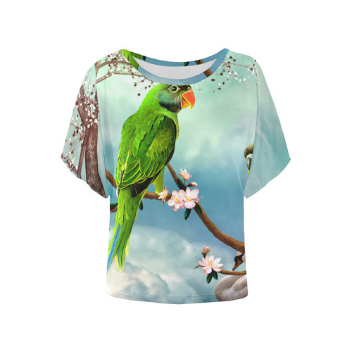 Funny cute parrots Women's Batwing-Sleeved Blouse T shirt (Model T44)