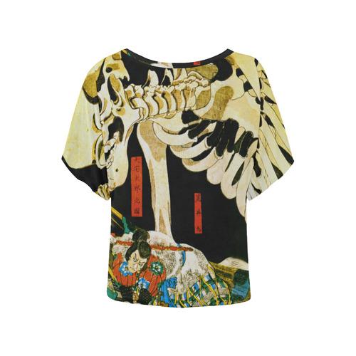 Skeleton Witch Kuniyoshi Japanese Ukiyoe Women's Batwing-Sleeved Blouse T shirt (Model T44)