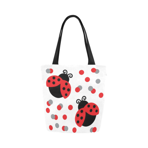 Cute Ladybug Pattern Red Black Canvas Tote Bag (Model 1657)