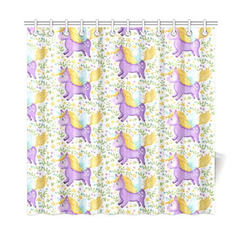 Cute Purple Unicorn Hearts And Stars Shower Curtain 72x72