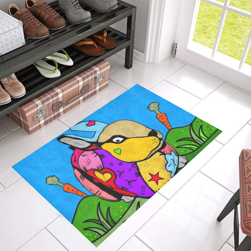 "A Rabbit by Nico Bielow Azalea Doormat 30"" x 18"" (Sponge Material)"