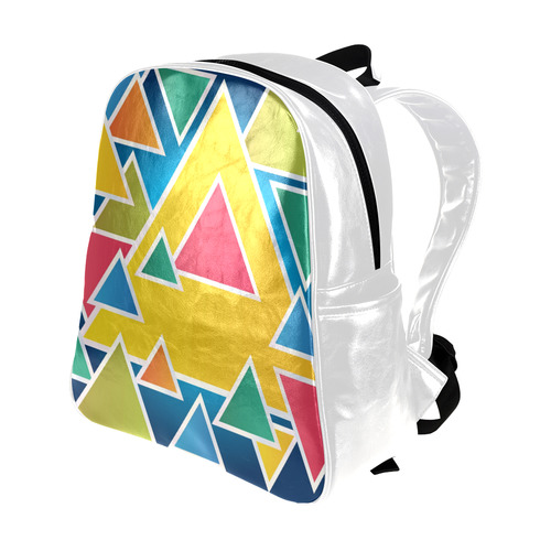 Geometric - Big Multi Color Traingles Multi-Pockets Backpack (Model 1636)