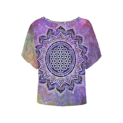 Flower Of Life Lotus Of India Galaxy Colored Women's Batwing-Sleeved Blouse T shirt (Model T44)
