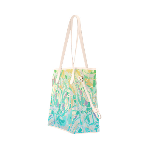 Summer Beach Days Abstract - Yellow, Blue, Teal Clover Canvas Tote Bag (Model 1661)
