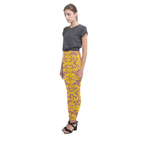 Gold and Purple Astral Art Cassandra Women's Leggings (Model L01)