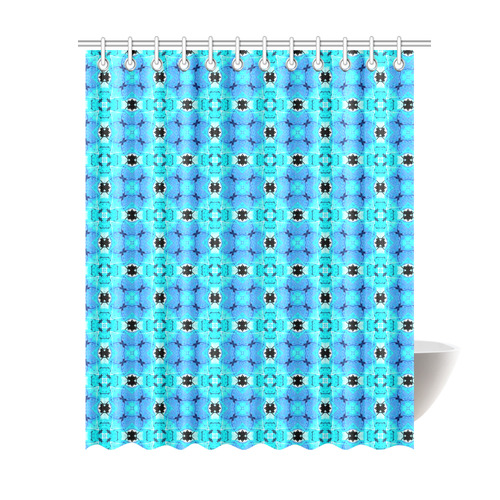 Vibrant Modern Abstract Lattice Aqua Blue Quilt Shower Curtain 69x84